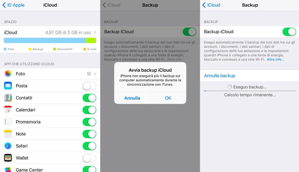 Backup iPhone con iCloud