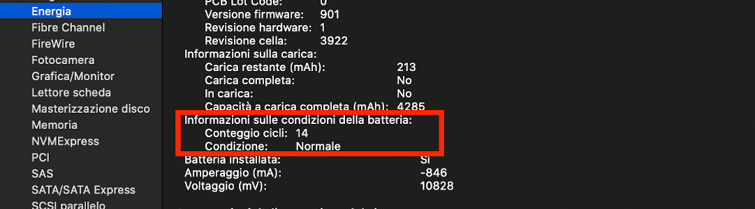 cicli batteria macbook pro