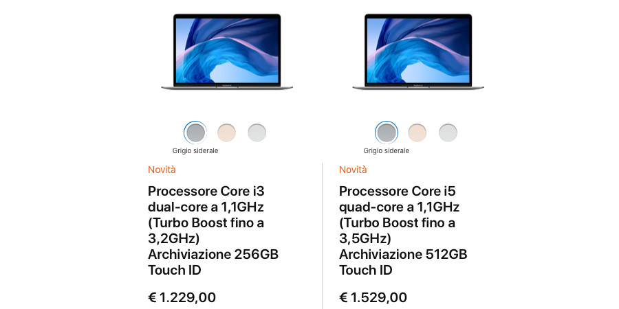 Prezzo MacBook Air 2020