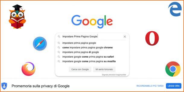 Impostare Google come pagina iniziale
