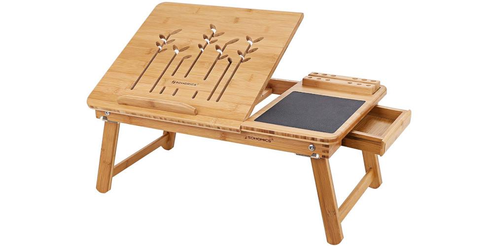 Songmics - tavolino per laptop pieghevole in bambù