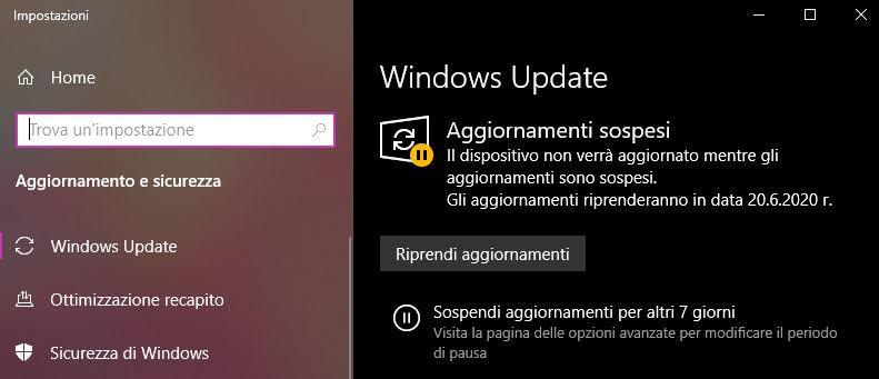 Windows Update Impostazioni