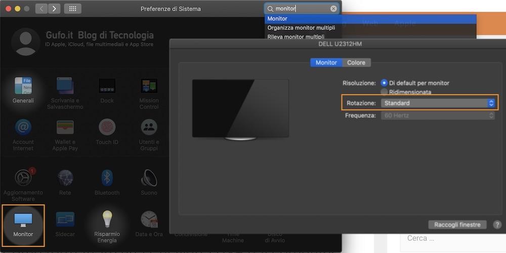 Rotazione del monitor su MacOS
